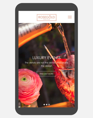 Rose Gold Events web design and development - Applied Digital