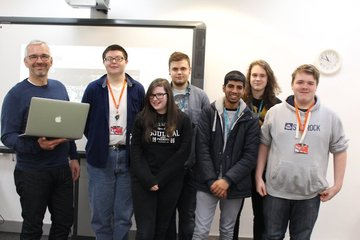 Applied Digital MD Steve Sykes, with Kirklees College Students